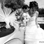 Photo de mariage noir et blanc sur le vif