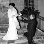 photo de mariés mise en scène