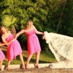 photo rigolote de mariée avec ses témoins
